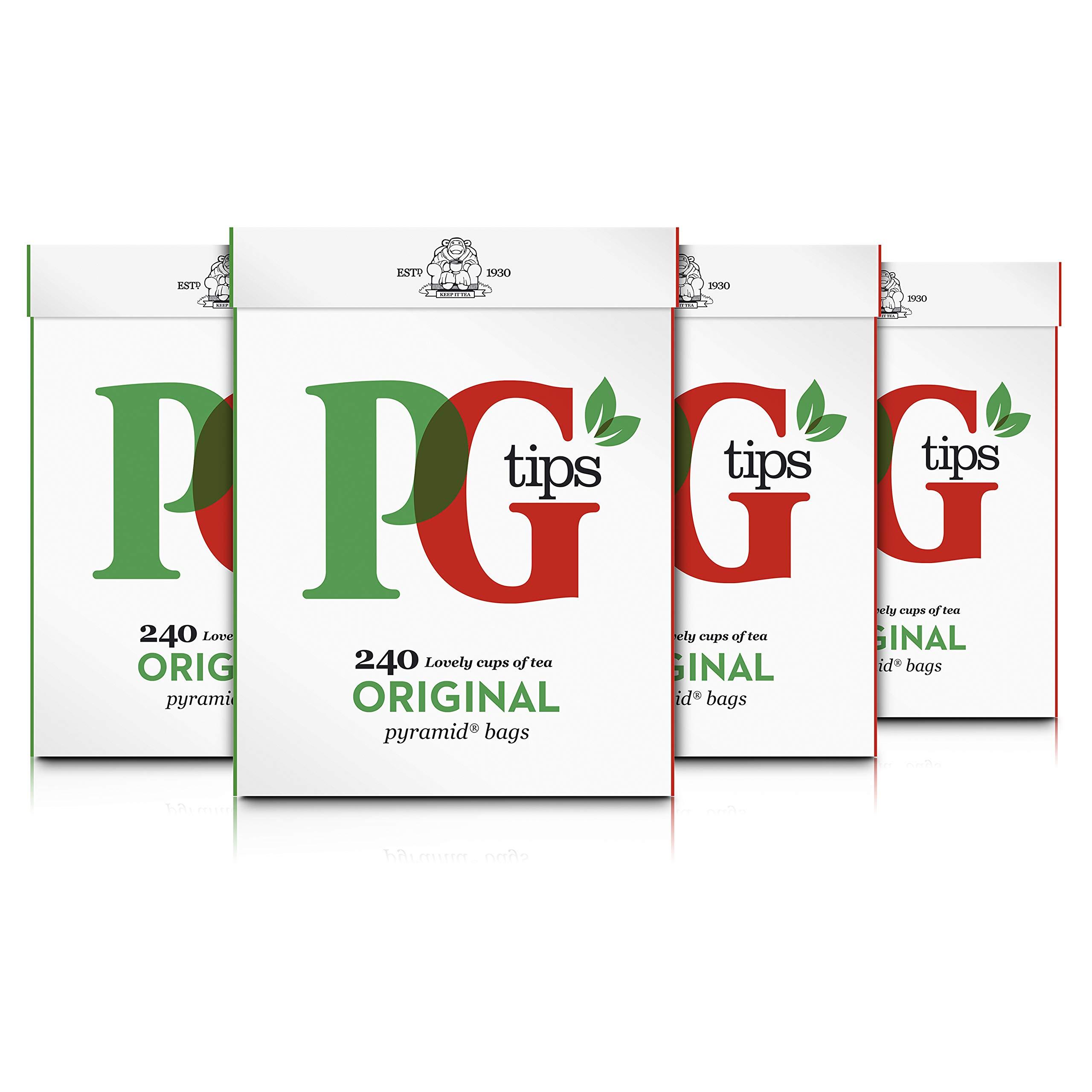 PG Tips tea bundle (rainforest alliance) (black tea) (4 packs of 240 bags) (960 bags) (brews in 2-3 minutes)