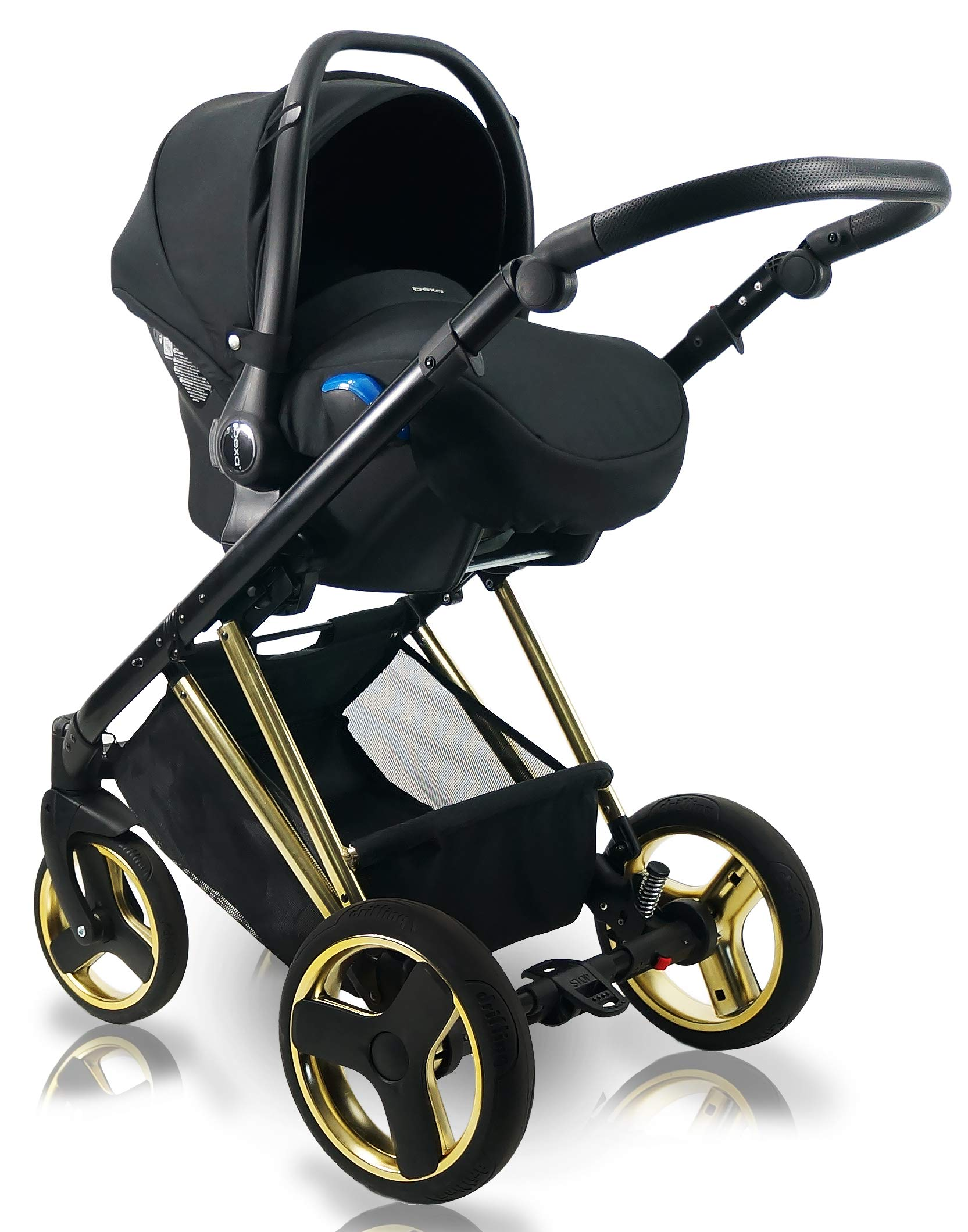 SaintBaby Stroller Buggy Baby seat Car seat Next II Gold Chrome Gold N1 4in1 with Isofix SaintBaby If you want the black frame instead of the gold frame, please inform us after the purchase. 3in1 or 2in1 Selectable. At 3in1 you will also receive the car seat (baby seat). Of course you get the baby tub (classic pram) as well as the buggy attachment (sports seat) no matter if 2in1 or 3in1. The car naturally complies with the EU safety standard EN1888. During production and before shipment, each wagon is carefully inspected so that you can be sure you have one of the best wagons. Saintbaby stands for all-in-one carefree packages, so you will also receive a diaper bag in the same colour as the car as well as rain and insect protection free of charge. With all the colours of this pram you will find the pram of your dreams. 7