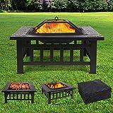 Femor Brasero pour Jardin Terrasses BBQ Brasero Ménager Barbecue pour Fête et Foyer 81 * 81 * 44cm en Acier Noir Poêle…