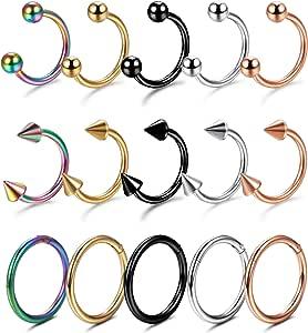 YADOCA 15 Pezzi Kit Piercing Acciaio Inox Donna Piercing al Naso e Anello Clicker Septum Ferro di Cavallo Cerchio Orecchini Sopracciglia Trago Labbro Piercing