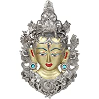 Kartique Tibetan Buddhist Deity | Wall Hanging Tara Mask | Face | Wall Decor (11 Inches Height) | Silver and Gold Finish