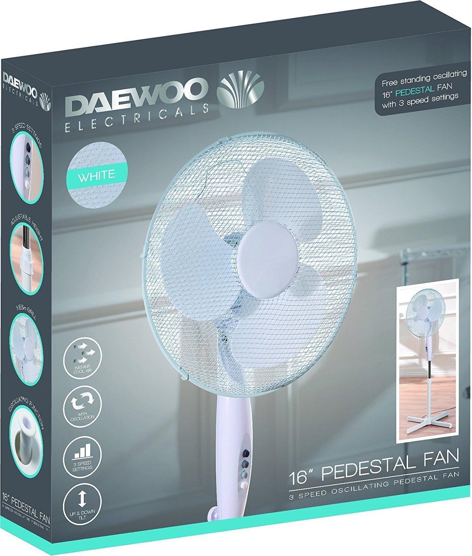 Netagon 16″ Electric Oscillating Floor Standing Pedestal Air Cooling Fan (White)
