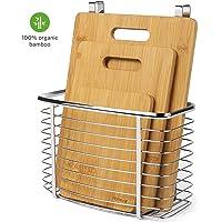 Tagliere  Homever Set di tagliere in bamb ugrave  a 3 pezzi PLUS Cestello appeso   Tagliere organico antibatterico con supporto per cestello portaoggetti in acciaio inossidabile