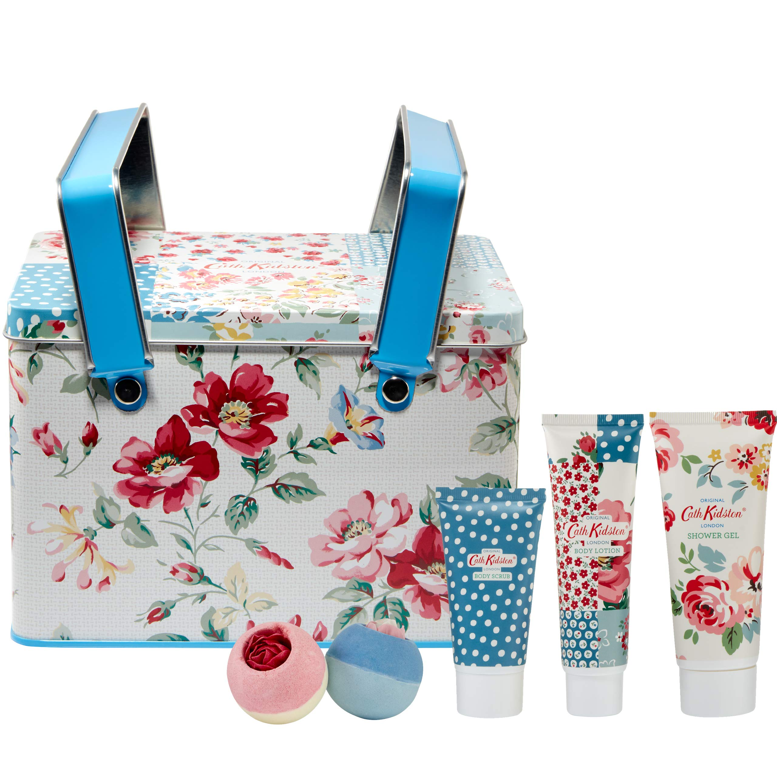 Cath Kidston Beauty Cottage Patchwork Picnic Tin Gift Set, 100 ml Shower Gel, 75 ml Body Lotion, 50 ml Body Scrub, 2 x 80 g Bath Fizzers