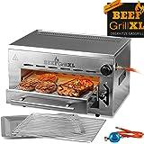 GOURMETmaxx Beef Maker XL   Oberhitze Gasgrill aus Edelstahl   800° C   Hochleistungs Grill für Steaks wie vom Profi   Stufenlos regulierbarer Gas-Keramikbrenner   Piezozünder, 3 Höhenstufen