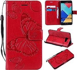 Galaxy A5 2016 Hülle, Conber Leder Handyhülle mit [Kostenlose Schutzfolie eingeschlossen] [Kartenfächer] [Standfunktion], Galaxy A5 2016 Leder Schutztasche Klappetui Ledertasche Handyhülle, Emboss 3D Schmetterling Muster Leder Handy Schutzhülle für Samsung Galaxy A5 2016 - Rot