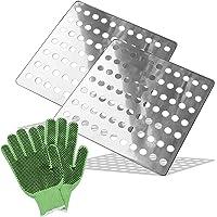 Medipaq 2x Square Swirl Rustproof Stainless Steel Drain Leaf Guard Drainage Covers - 15cm x 15cm Plus FREE Gardening…