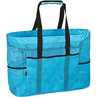 LIVACASA Strandtasche Mesh Extra Gross Meshtasche Faltbar mit Reißverschluss Familie Shopper Vielfäche Umhängetasche…