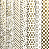 HomeSquare (Pack of 7) 28 * 19 inches Golden Gift Wrapping Paper and Multipurpose Creative Uses