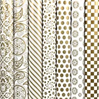 HomeSquare (Pack of 7) 30 * 20 inches Golden Gift Wrapping Paper and Multipurpose Creative Uses