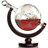 Zestaw karafki do whisky z wygrawerowaną mapą świata i antycznym statkiem - drewniana podstawa i bezpieczny pakiet - idealny