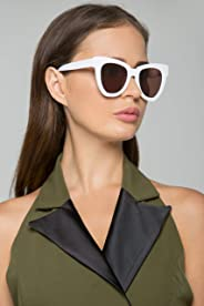 Women White and Brown Lens Butterfly Sunglasses