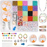 Xiangmall 9000 Stücke DIY Armband Buchstaben Perlen Alphabet Mini Glasperlen Armband Perlen zum Basteln Bunt mit Seil Sprungr