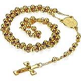 Flongo Collana del Rosario Ciondolo Croce, Collana Religiosa in Acciaio Inossidabile Crocifisso del Signore Gesù Cristo, Cate