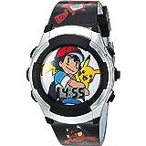 ساعة الأطفال بوكيمون مع أضواء ليد وامضة - ساعة رقمية للأطفال مع شخصيات بوكيمون الرسمية على القرص، ساعة الأطفال مع حزام سهل ال
