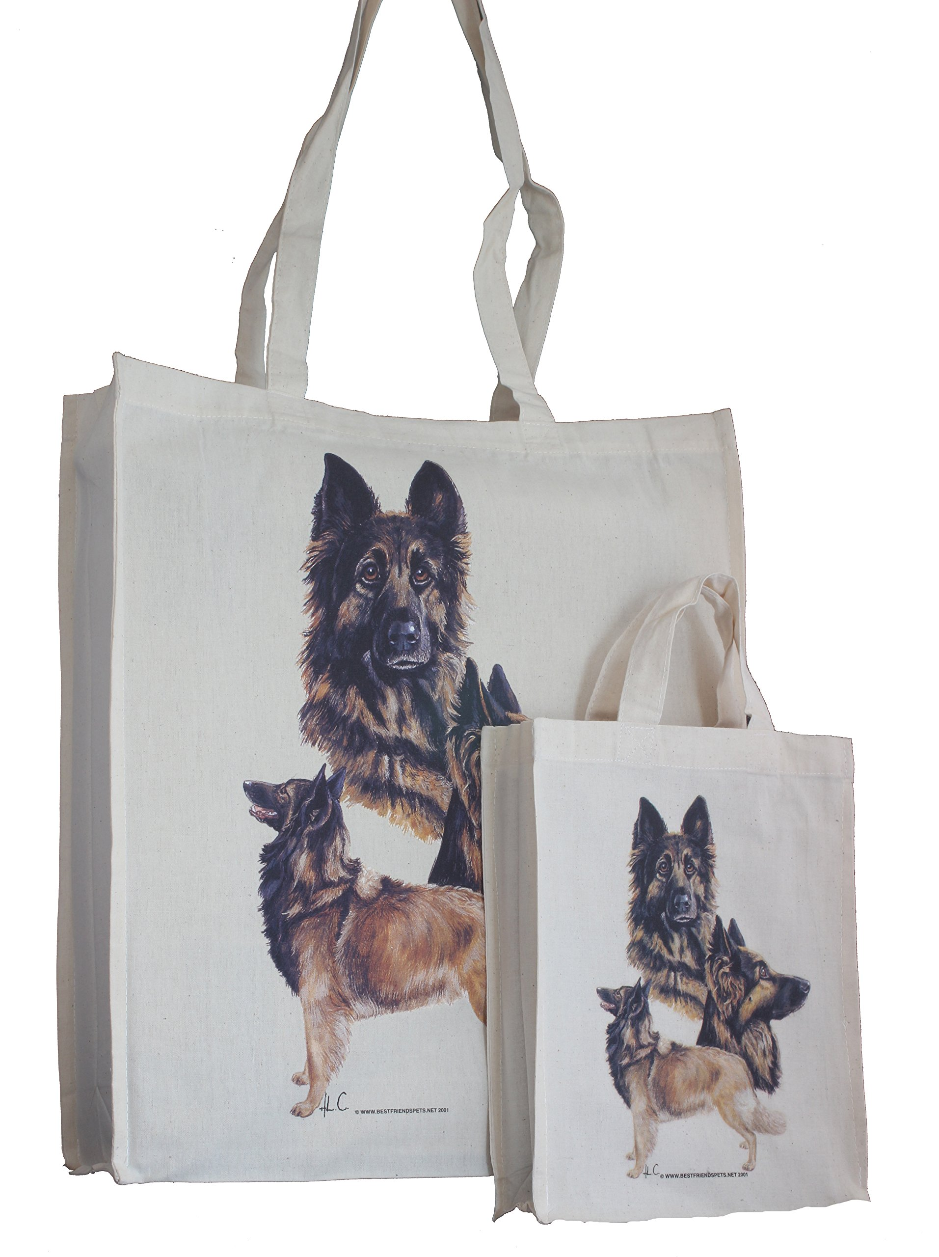 Belgian Tervuren Breed of Dog Adult and Child Shopping or Packed Lunch / Craft / Dog Treats Matching Cotton Bag Tote with Gussets for Extra Space