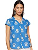 Amazon Brand - Myx Women's Floral Regular Fit Cap Sleeve Shirt