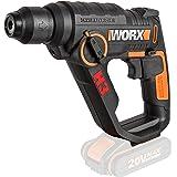 WORX WX390.9 boorhamer SDS-plus 20 V, krachtige boormachine met pneumatische hamerwerk en tweede handgreep, ideaal voor schro