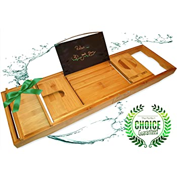 Luxury Wooden Bath Caddy Tray, 100% Natural Eco-Friendly Bamboo ...