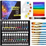 Set de 24 Tubos de Pinturas Acrilicas, Buluri 24 Colores x 12ml Pintura Acrílica con 10 Pinceles 1 Paleta 1 Lienzo, para Tela