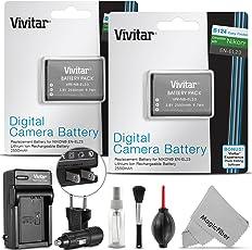 (2 Pack) Vivitar EN-EL23 Battery and Charger Kit for NIKON Coolpix P900 P610 P600 S810c Cameras (Nikon EN-EL23 Replacement) - Includes: 2 Vivitar Ultra High Capacity Rechargeable 2550mAh Li-ion Batteries + AC/DC Vivitar Rapid Travel Charger + Cleaning Kit + MagicFiber Microfiber Lens Cleaning Cloth