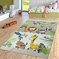Tapis pour Enfant Chambre d'enfant Jungle Animaux Girafe Lion Singe Zèbre Beige Crème, Dimension:80x150 cm