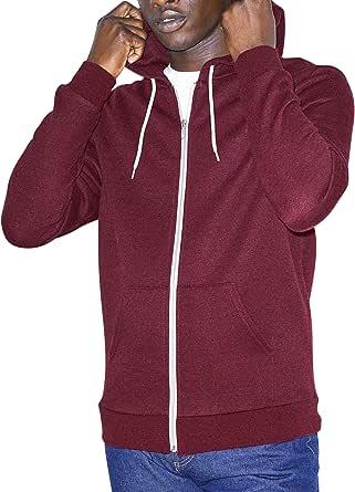 American Apparel Peppered Fleece Long Sleeve Zip Hoodie Hooded Sweatshirt