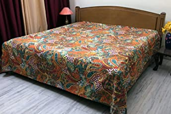 Indian Kantha Quilted Bedspread Double Orange Cotton Paisley Hand Stitched Bedding Bed Cover by Stylo Culture
