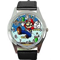TAPORT® Orologio al quarzo con cinturino in pelle nera per i fan di Mario