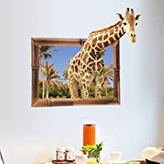 GoldenCart Vinyl 3D Giraffe Popping out of Window Self-adhesive Eco-Friendly Wall Sticker for Living Room (86x76cm, Multicolour)