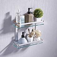 UMI. Essentials Bathroom Glass Shelf 2 Tier Tempered Glass Rectangular Double Deck Aluminum Silver Sand Sprayed Wall Mounted,