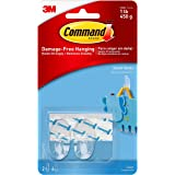 Command Small Hooks for Walls, 2 Hooks and 4 Strips, Damage Free Walls, Holds 450gm, Transparent