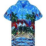 V.H.O. Funky Chemise Hawaïenne | Hommes | XS - 12XL | Manche-Courte | Poche-Avant | Hawaiian-Imprimer | Parrot | Différentes