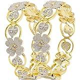 JDX Designer American Diamond Gold Plated Bangles for Women/Girls