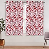 Amazon Brand - Solimo Verismo Polyester Checkered Curtain, Window, 5 feet (1.52 m), Red, Pack of 2