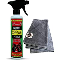 Wavex® Instant Spray Car and Bike Polish 350ML Includes Microfiber Cloth Also Cleans and Shines Home Appliances, Rubber, Plastic, Furniture etc