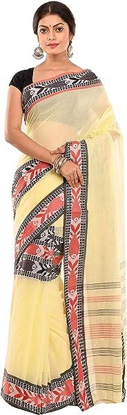 TANTUJA BENGAL HANDLOOM Self Design Tangail Handloom Saree For Women's-Yellow-015H8S0920/IHB 40