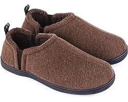 Snug Leaves Men's Fuzzy Wool Felt Memory Foam Slippers Anti-Slip Warm Faux Sherpa House Shoes with Dual Side Elastic Gores