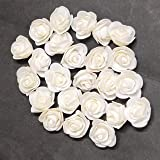 Excellentcrafts 3 cm White Color Foam Artificial Flower Roses for Tiara Making, Decoration, Crafts (Pack of 25 Pieces)