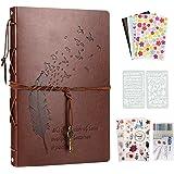 YILEEY Album Photos, 28x21cm Traditionnel Vintage Scrapbook en Cuir 60 Pages, Noires Rechargeable Livre d'or, DIY Scrapbookin