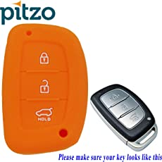 PITZO Car Silicone Rubber Key Cover for Hyundai Creta / i20 Elite - (Orange)