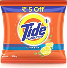 Tide Plus Detergent Washing Powder with Extra Power Lemon and Mint Pack - 500 g (Rupees 5 off)