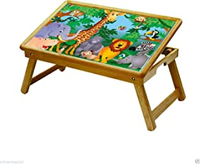 DFS Multipurpose Foldable Study Table / School Activity Table / Bed Breakfast Tray for Kids - Nature Series (Wild Animals)
