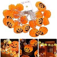 Halloween Guirlande Lumineuse, 3M/20LED Guirlande Lumineuse Citrouille d'halloween, Halloween Lanterne Potiron…