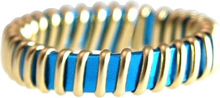 Gemshine Handmade - Ring - Vergoldet - Emaille - Blau - Türkis - Größenverstellbar
