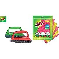 Scotch-Brite Sponge Wipe 5 Pcs Pack (Multipurpose) & Fibre Bathroom Scrubber Brush and Jet Tough Brush (Multicolour) Combo