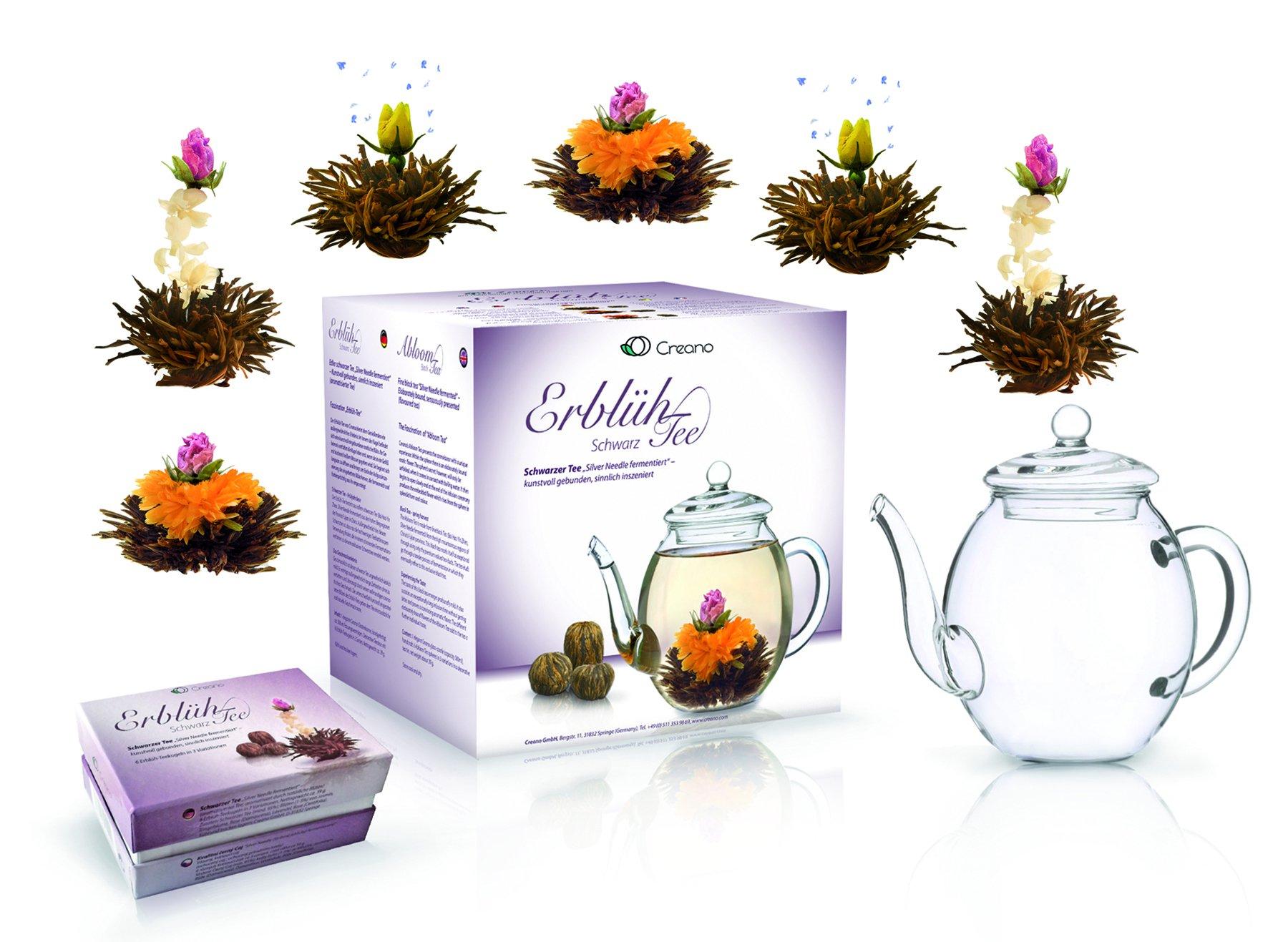 Creano-Teeblumen-Mix-GeschenksetErblhTee-mit-Glaskanne-Schwarztee-6-Teerosen-in-3-verschiedenen-Sorten