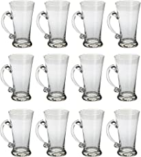 Somil Beer Mug Glass Set New Look Attractive Design and Transparent with Handle (Set of 12) Multipurpose Usable