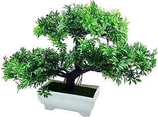 Random 3 Headed Artificial Bonsai Tree with Small Green Leaves