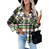 YILEEGOO Women's Casual Plaid Shirts Long Sleeve Lapel Button-Down Blouse Tops Loose Oversize Shacket Coat